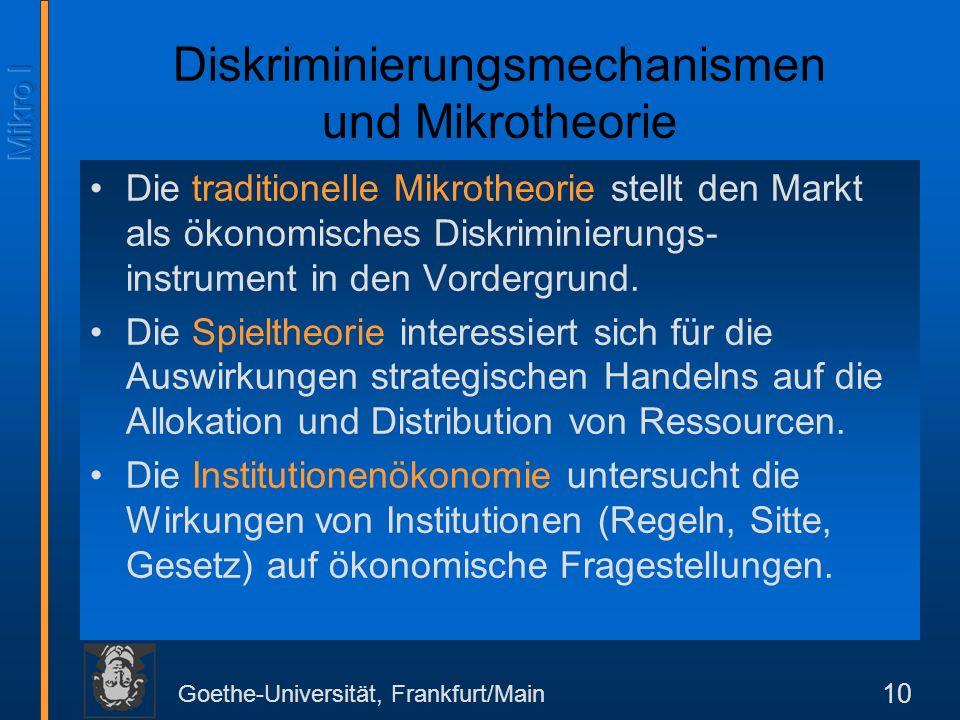 Diskriminierungsmechanismen und Mikrotheorie