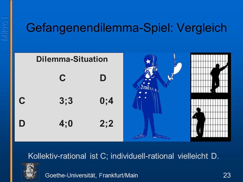 Gefangenendilemma-Spiel: Vergleich
