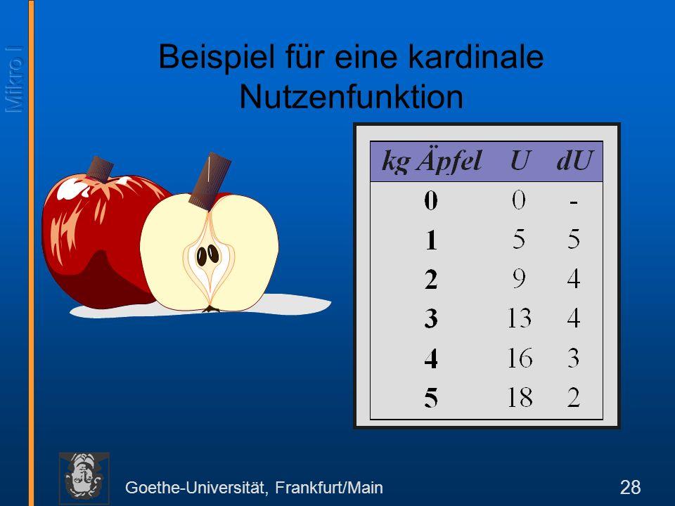 Beispiel für eine kardinale Nutzenfunktion