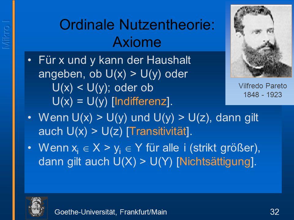 Ordinale Nutzentheorie: Axiome