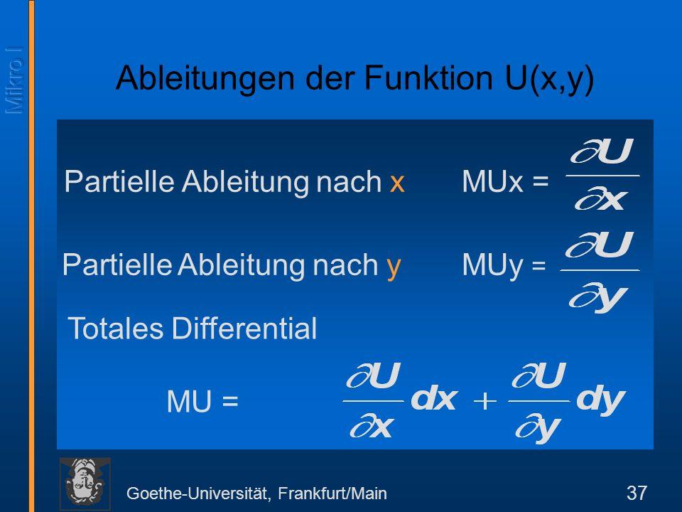 Ableitungen der Funktion U(x,y)