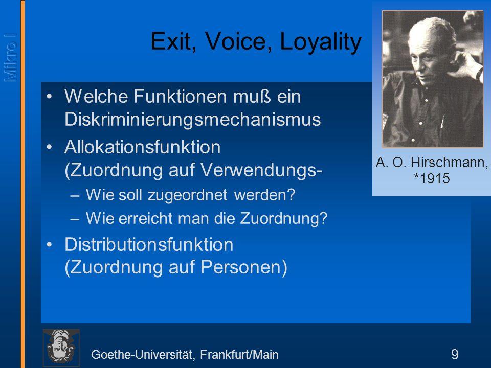 Exit, Voice, Loyality Welche Funktionen muß ein Diskriminierungsmechanismus erfüllen Allokationsfunktion (Zuordnung auf Verwendungs- weisen)