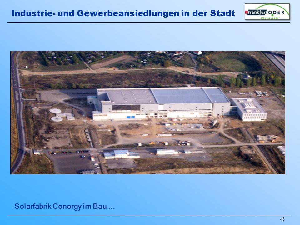 Industrie- und Gewerbeansiedlungen in der Stadt