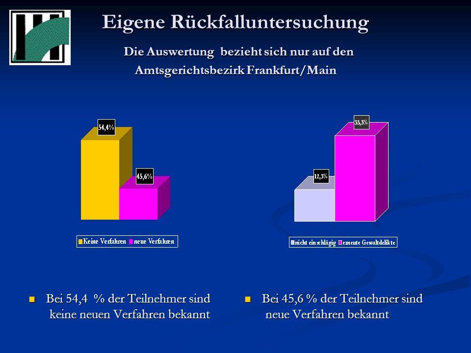 Eigene Rückfalluntersuchung Die Auswertung bezieht sich nur auf den Amtsgerichtsbezirk Frankfurt/Main