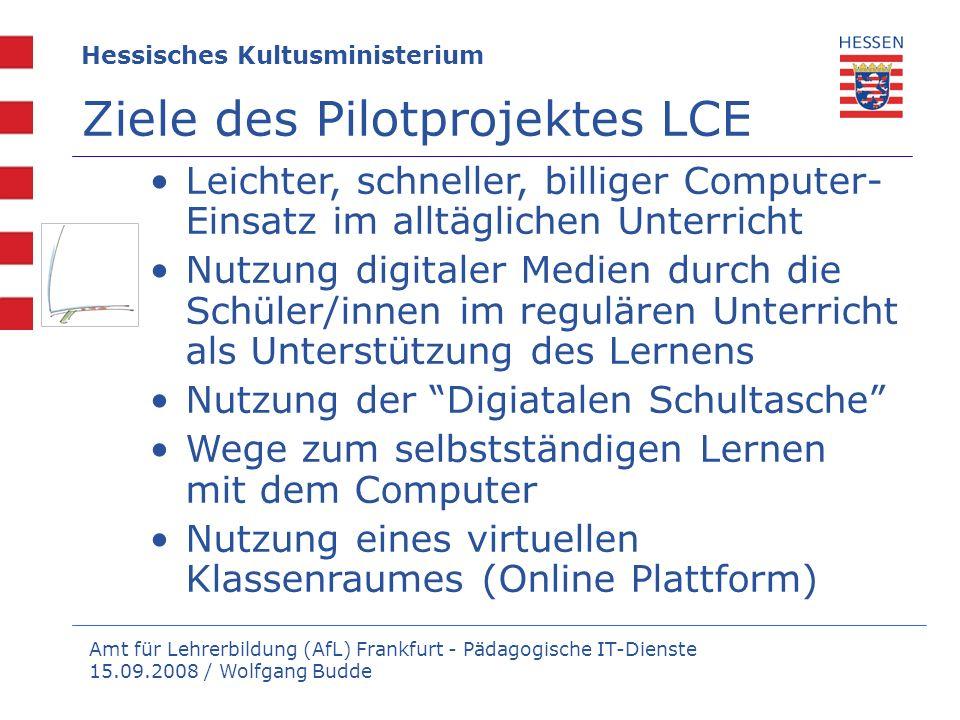 Ziele des Pilotprojektes LCE