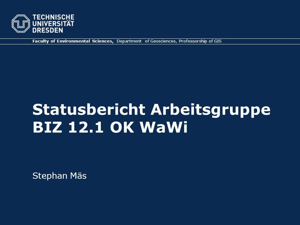 Statusbericht Arbeitsgruppe BIZ 12.1 OK WaWi