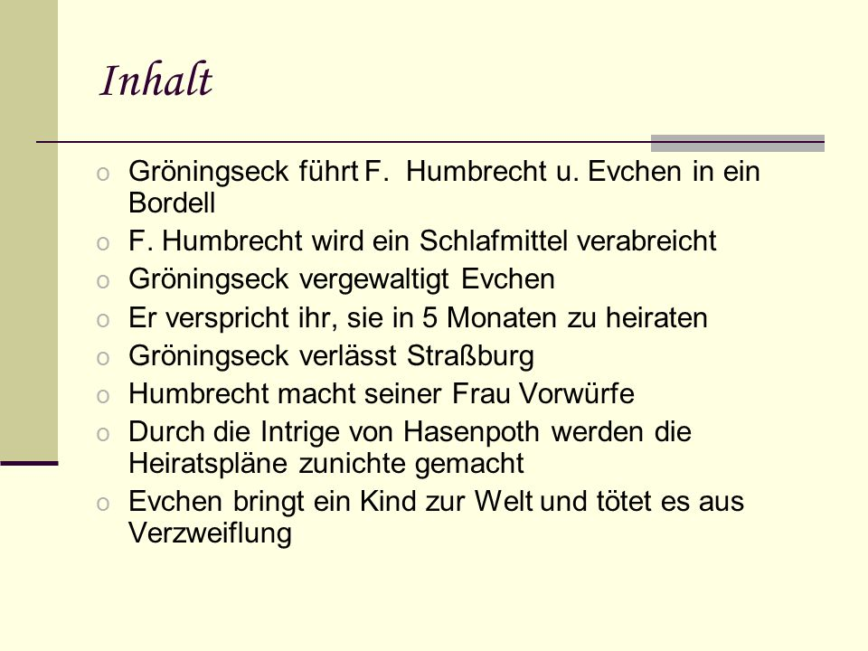 Inhalt Gröningseck führt F. Humbrecht u. Evchen in ein Bordell