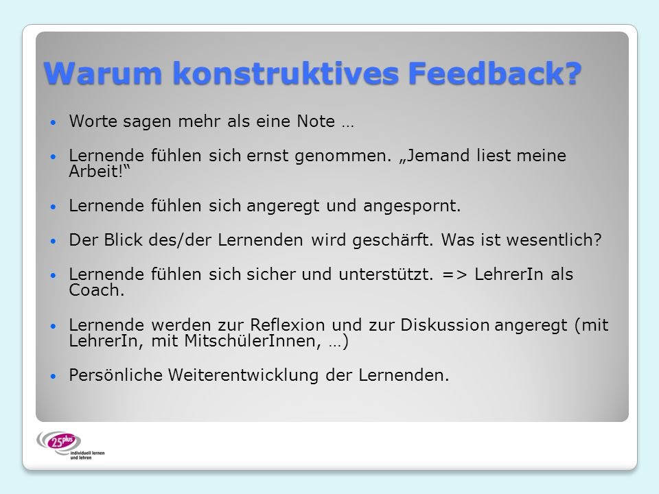 Warum konstruktives Feedback