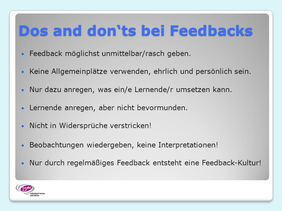 Dos and don'ts bei Feedbacks