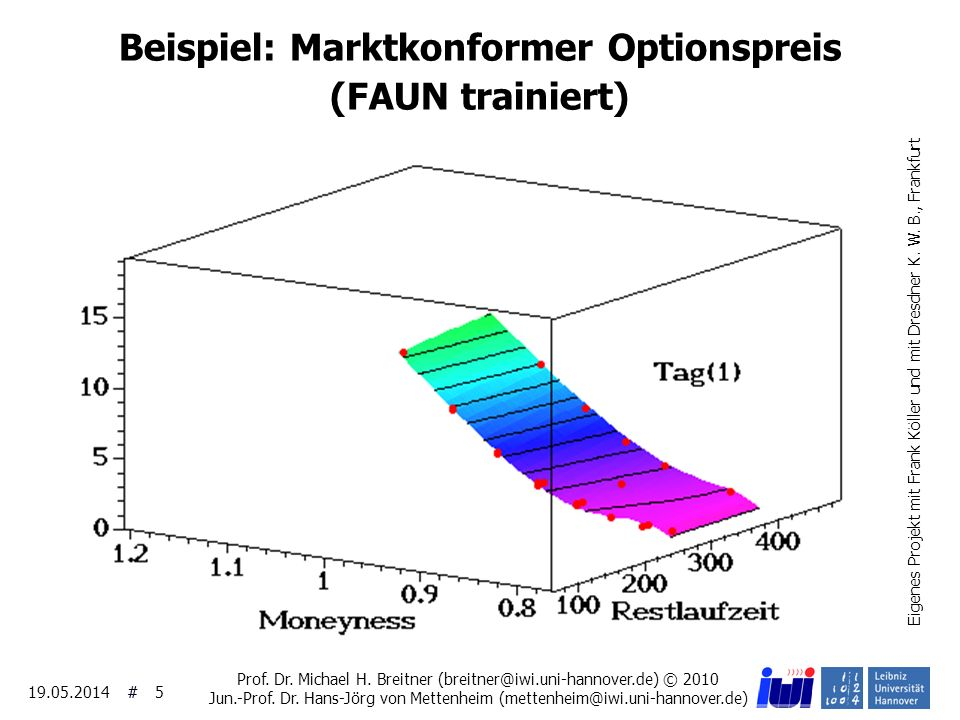Beispiel: Marktkonformer Optionspreis (FAUN trainiert)