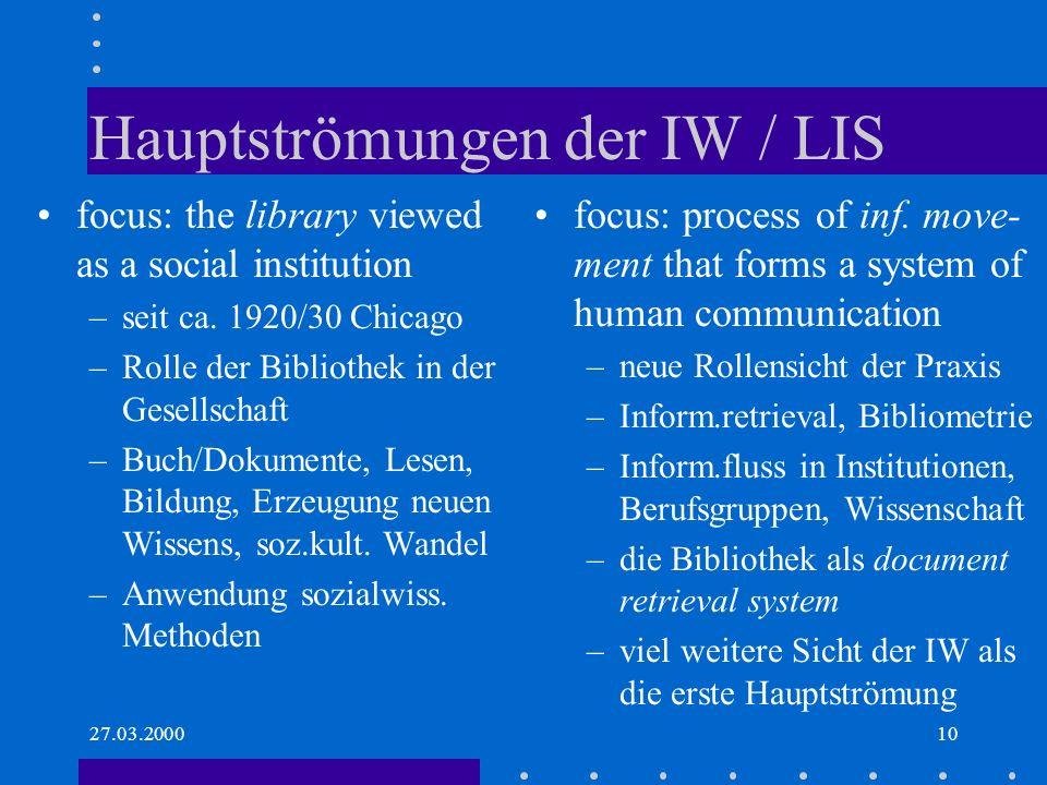 Hauptströmungen der IW / LIS