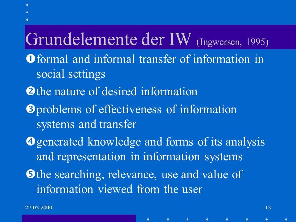Grundelemente der IW (Ingwersen, 1995)