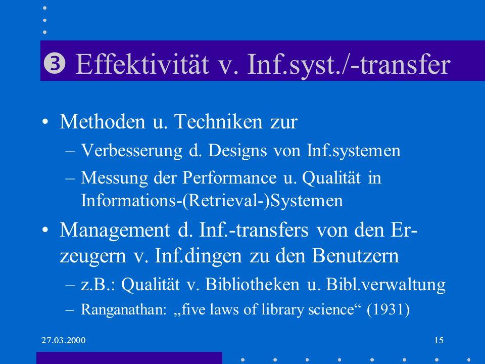  Effektivität v. Inf.syst./-transfer