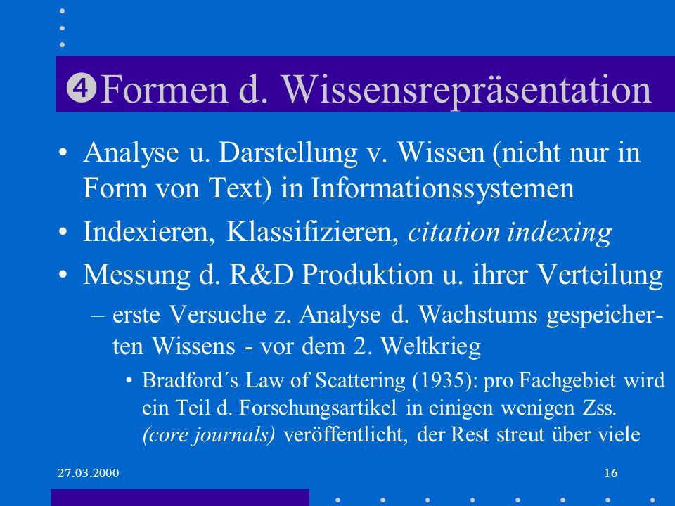 Formen d. Wissensrepräsentation