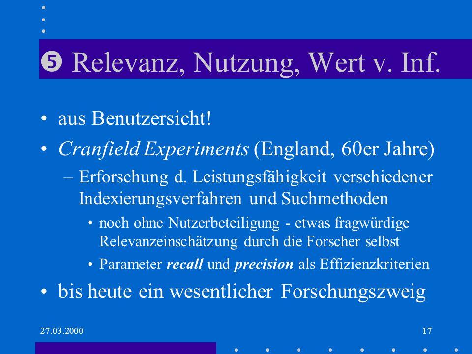  Relevanz, Nutzung, Wert v. Inf.