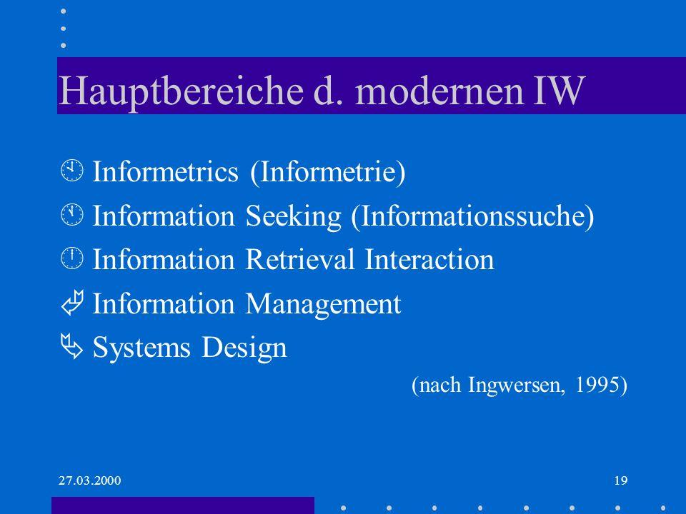Hauptbereiche d. modernen IW