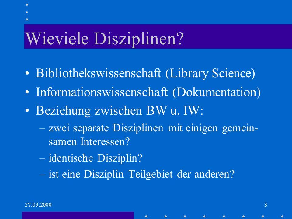 Wieviele Disziplinen Bibliothekswissenschaft (Library Science)