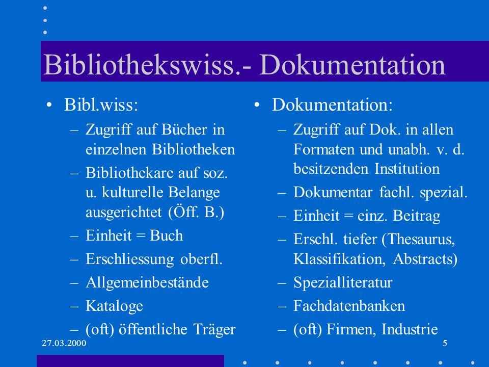 Bibliothekswiss.- Dokumentation