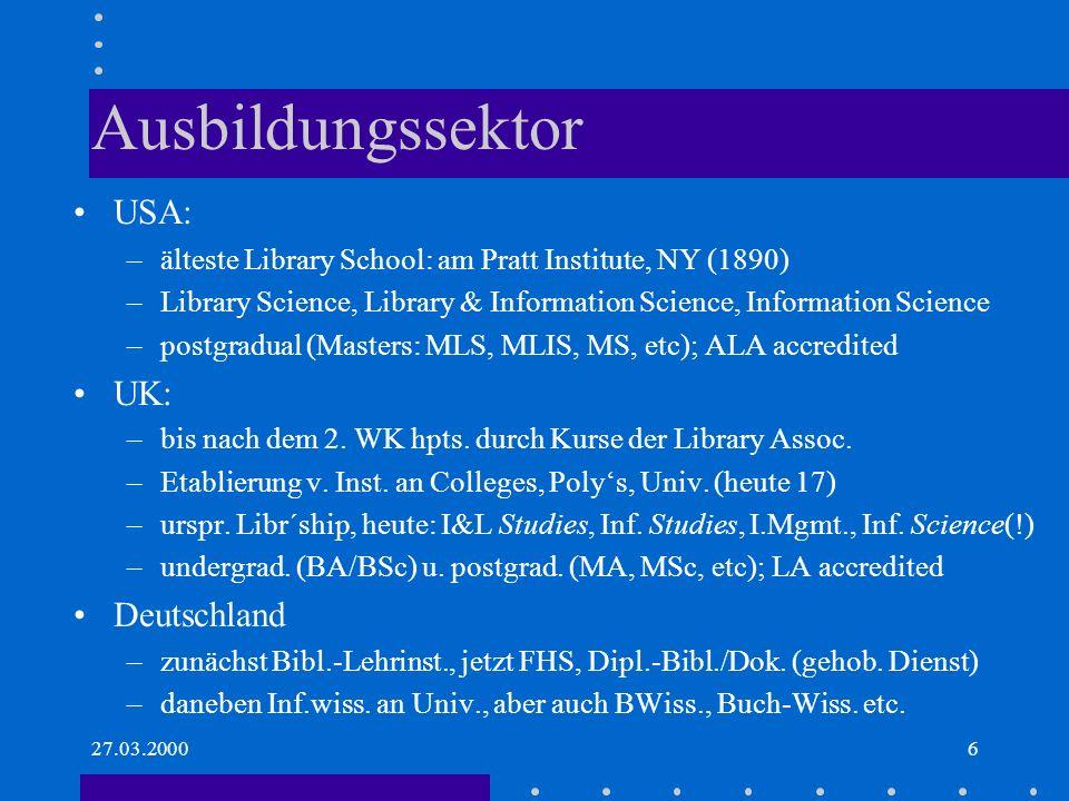 Ausbildungssektor USA: UK: Deutschland