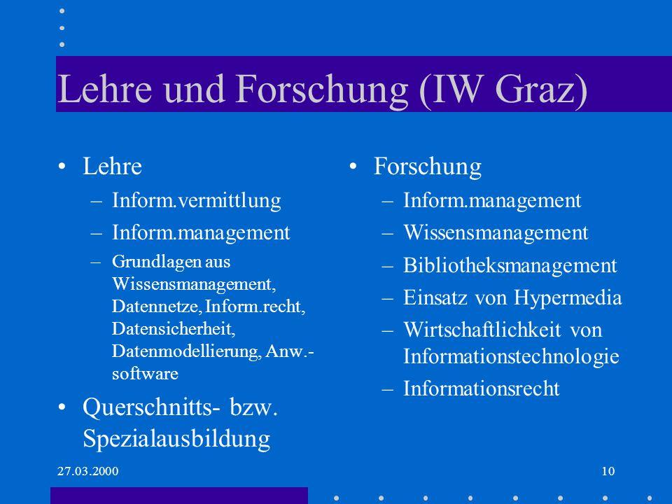 Lehre und Forschung (IW Graz)