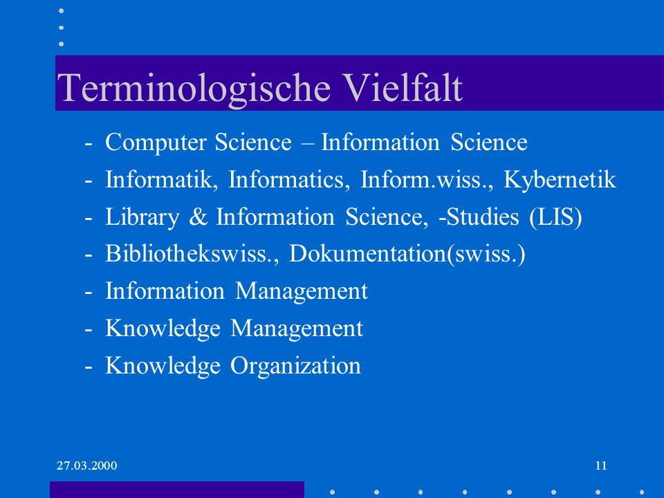 Terminologische Vielfalt