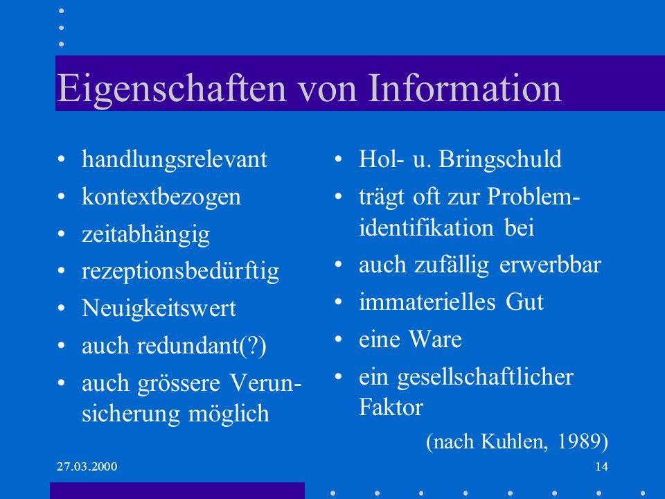 Eigenschaften von Information