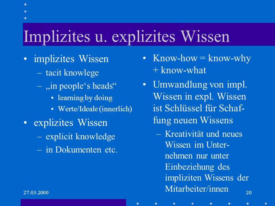 Implizites u. explizites Wissen