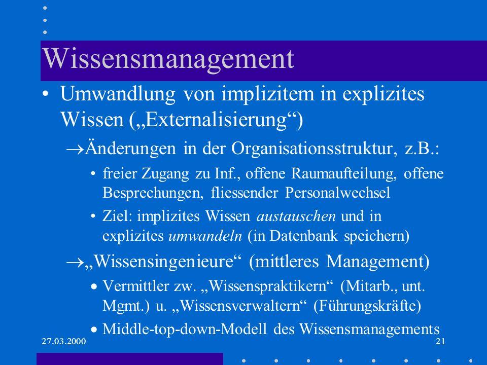 """Wissensmanagement Umwandlung von implizitem in explizites Wissen (""""Externalisierung ) Änderungen in der Organisationsstruktur, z.B.:"""
