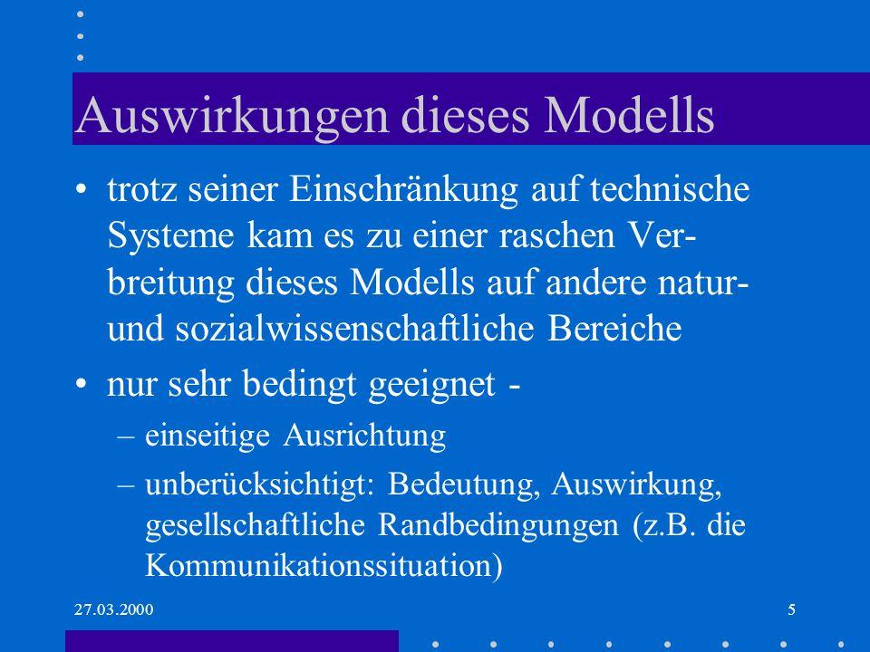Auswirkungen dieses Modells