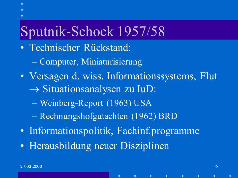 Sputnik-Schock 1957/58 Technischer Rückstand: