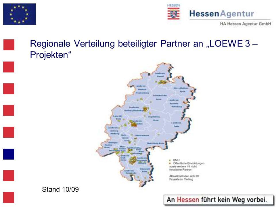 """Regionale Verteilung beteiligter Partner an """"LOEWE 3 – Projekten"""