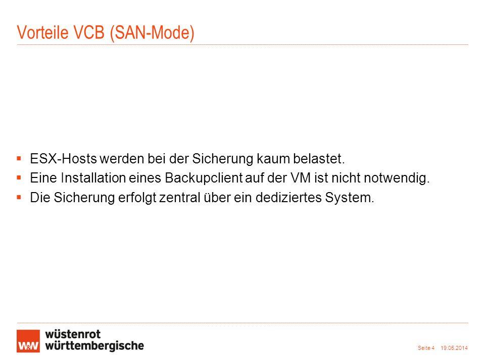 Vorteile VCB (SAN-Mode)