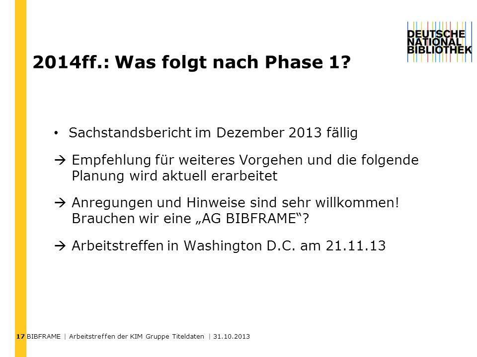 2014ff.: Was folgt nach Phase 1
