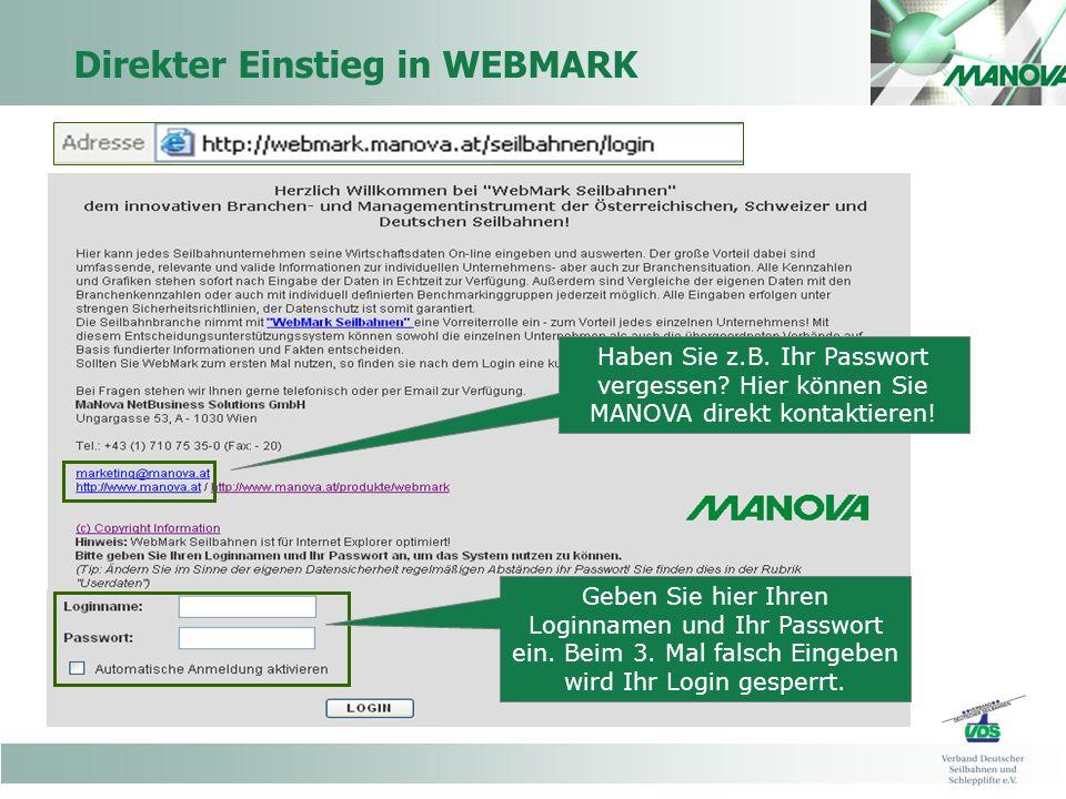 Direkter Einstieg in WEBMARK