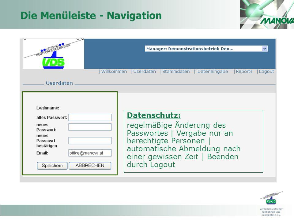 Die Menüleiste - Navigation