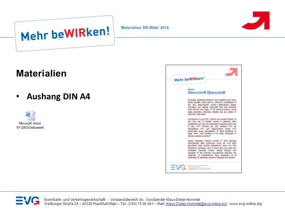 Materialien zur BR- Aushang DIN A4 2014 Materialien BR-Wahl 2014