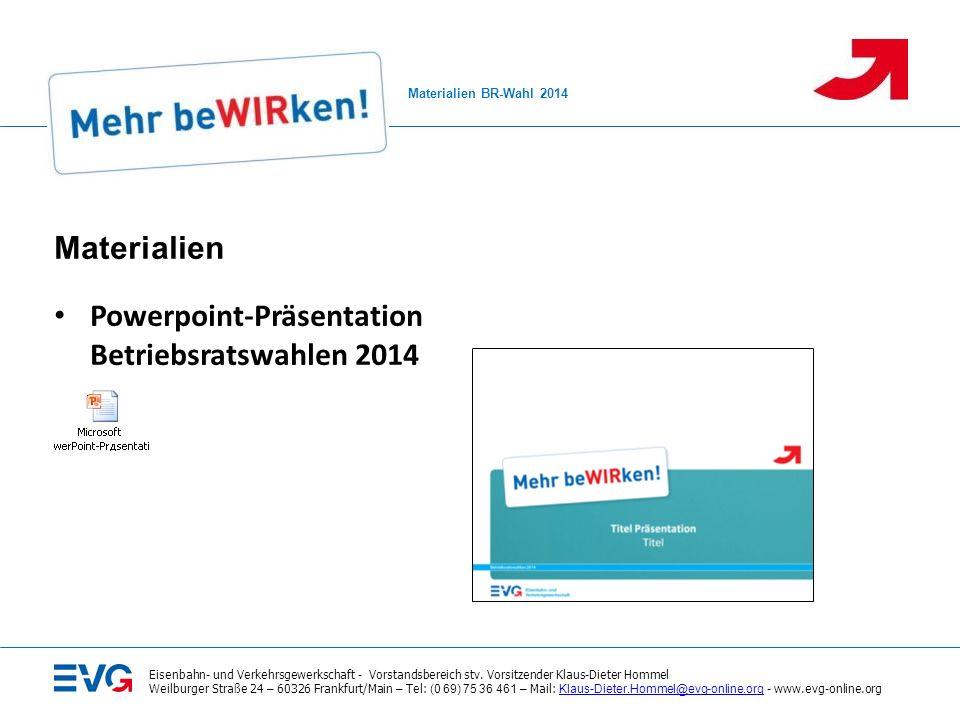 Powerpoint-Präsentation Betriebsratswahlen 2014