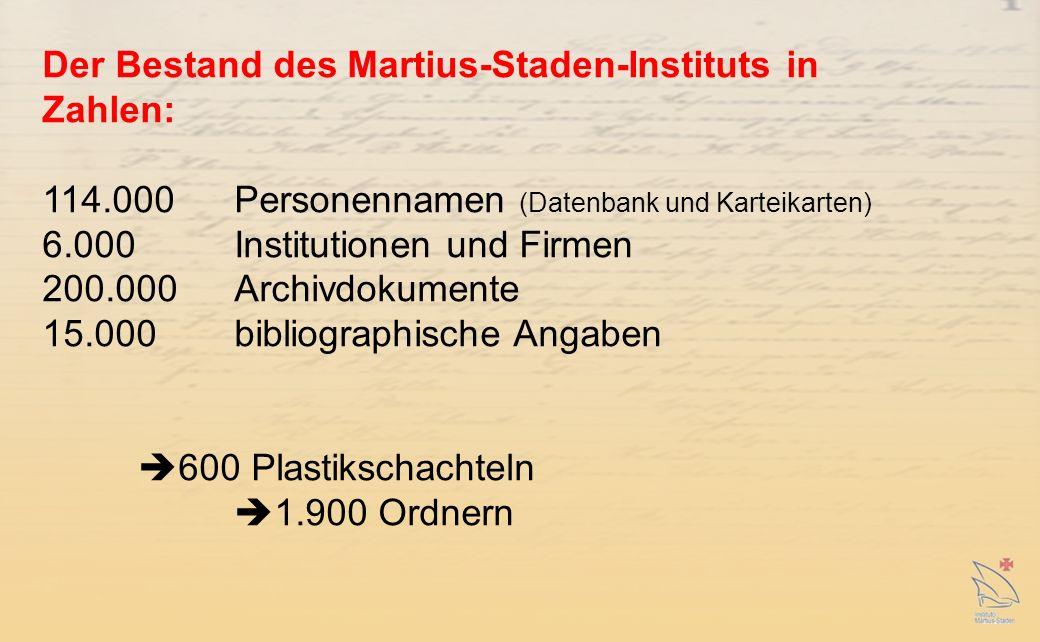 Der Bestand des Martius-Staden-Instituts in Zahlen: