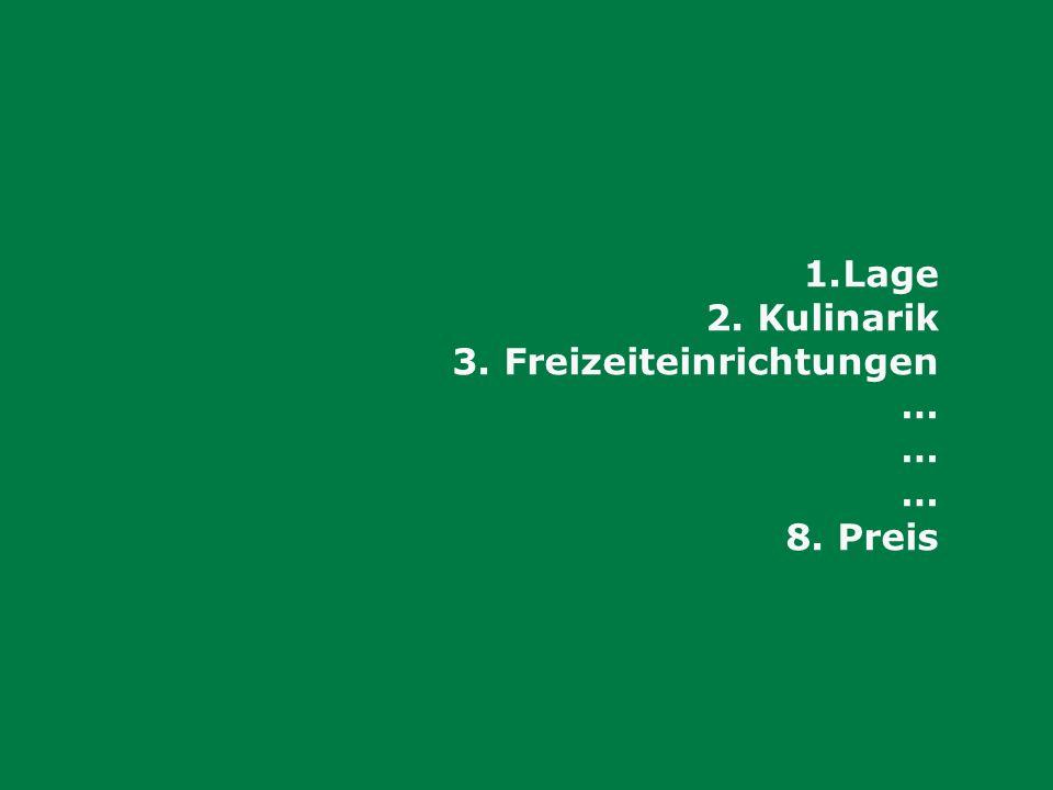 Lage Kulinarik Freizeiteinrichtungen … 8. Preis
