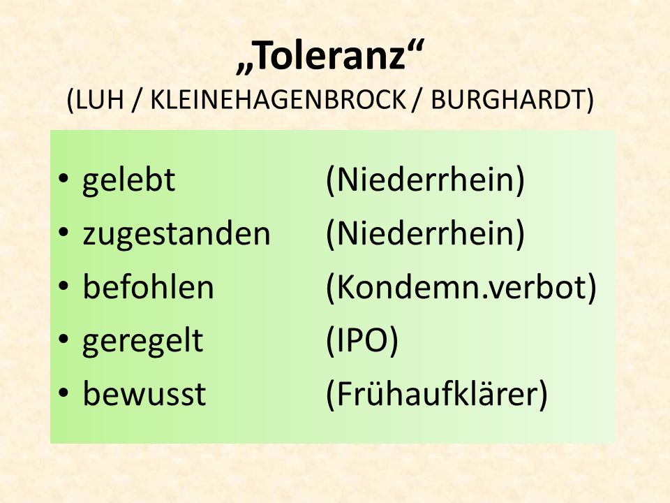 """Toleranz (LUH / KLEINEHAGENBROCK / BURGHARDT)"