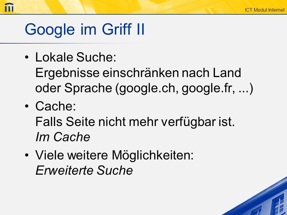 Google im Griff II Lokale Suche: Ergebnisse einschränken nach Land oder Sprache (google.ch, google.fr, ...)