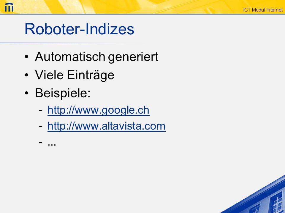 Roboter-Indizes Automatisch generiert Viele Einträge Beispiele:
