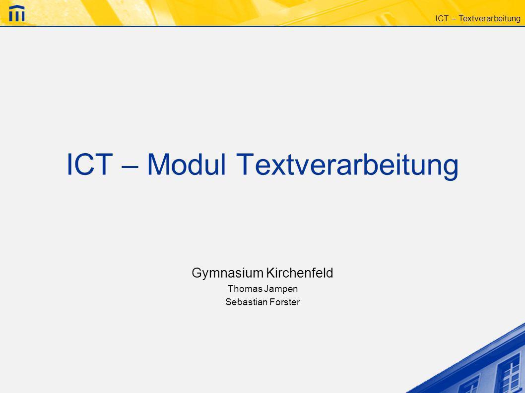 ICT – Modul Textverarbeitung
