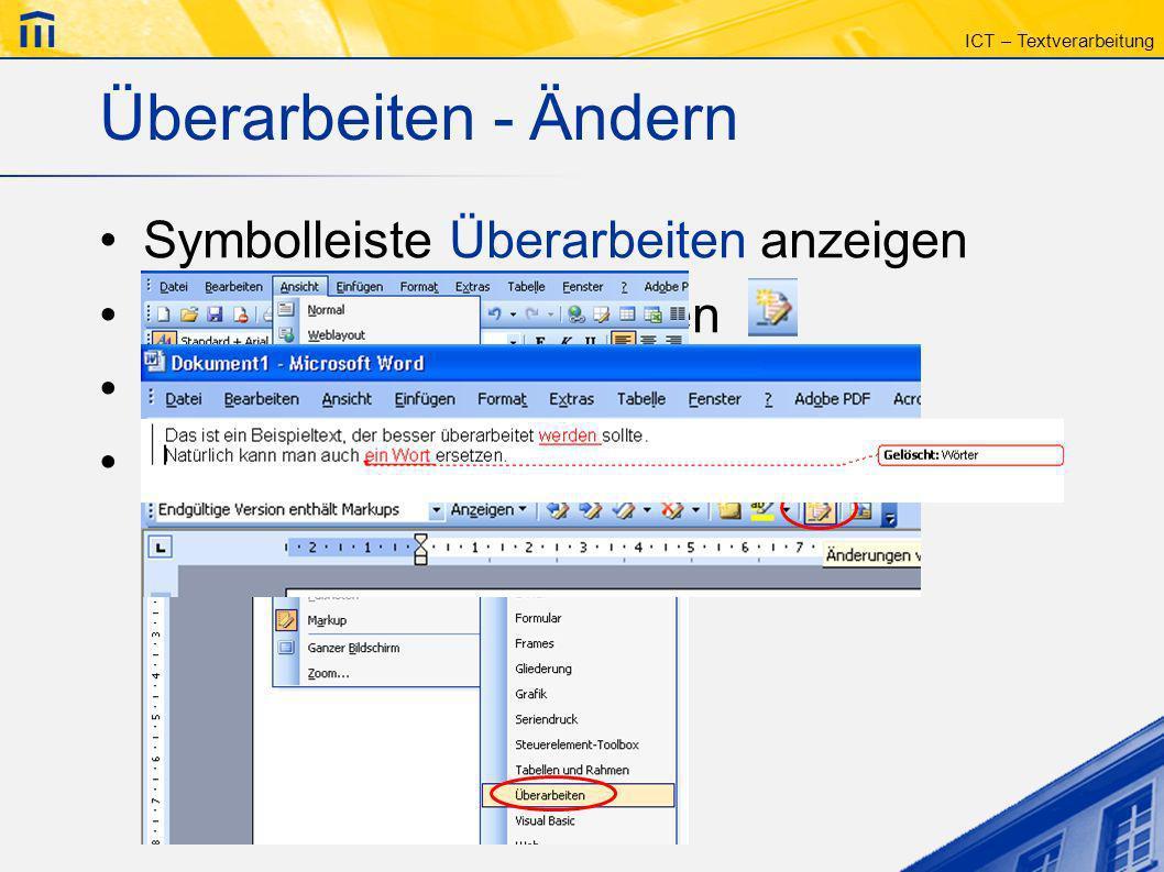 Überarbeiten - Ändern Symbolleiste Überarbeiten anzeigen