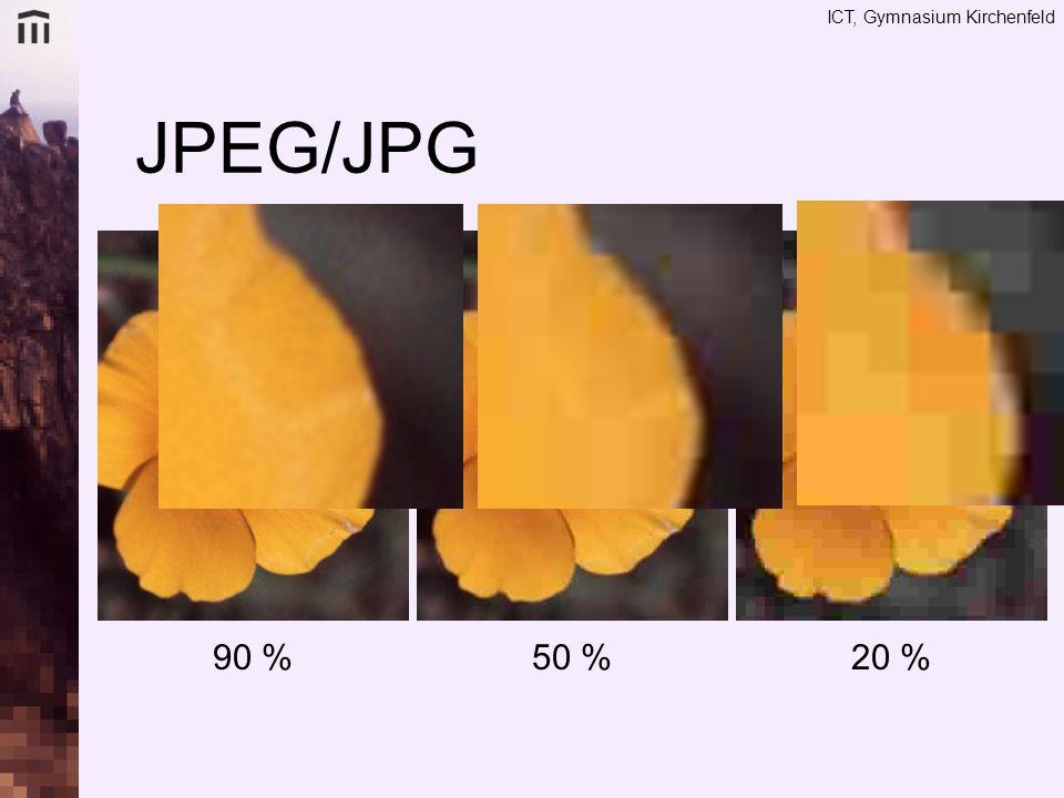 JPEG/JPG 90 % 50 % 20 %