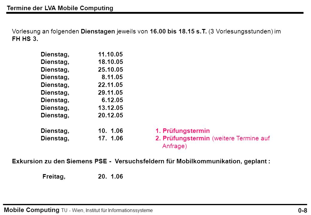 Termine der LVA Mobile Computing