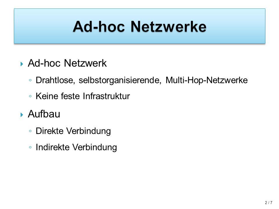 Ad-hoc Netzwerke Ad-hoc Netzwerk Aufbau