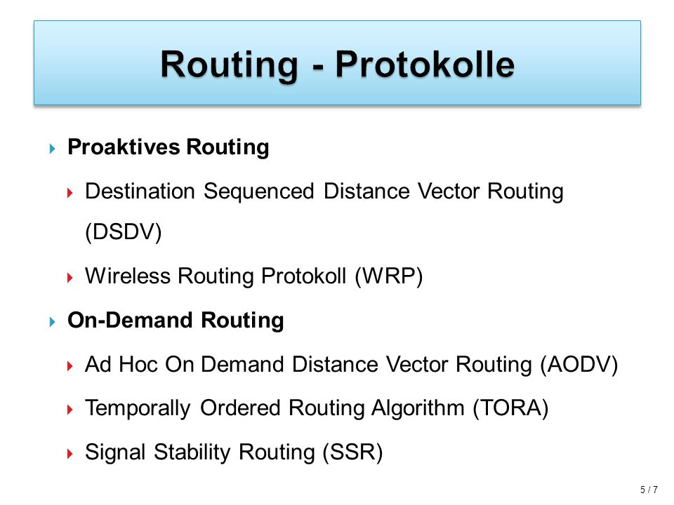 Routing - Protokolle Proaktives Routing