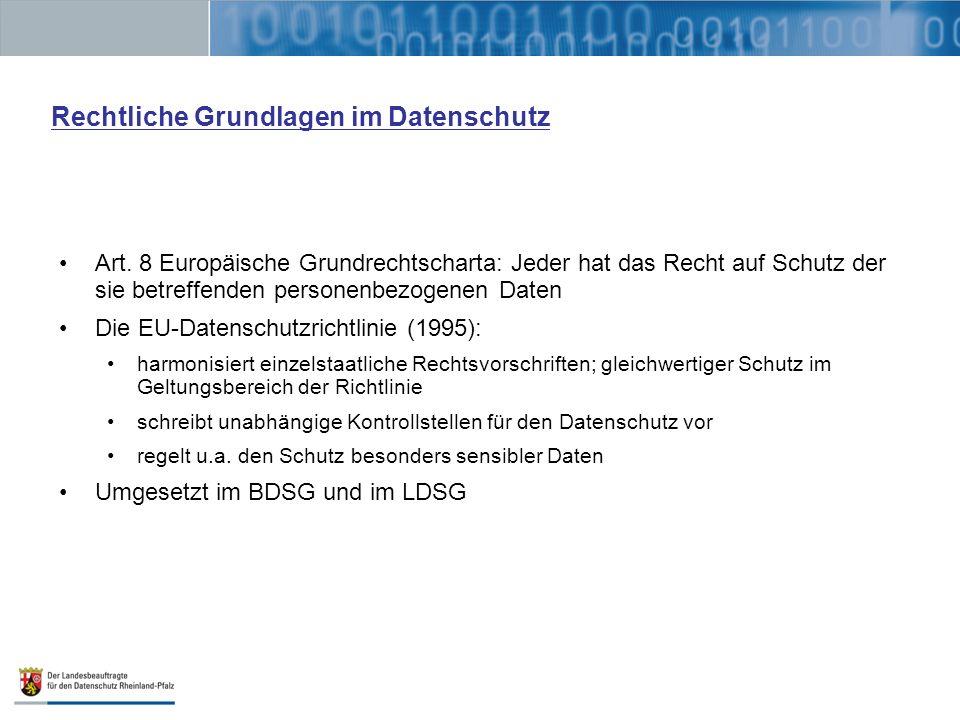 Rechtliche Grundlagen im Datenschutz