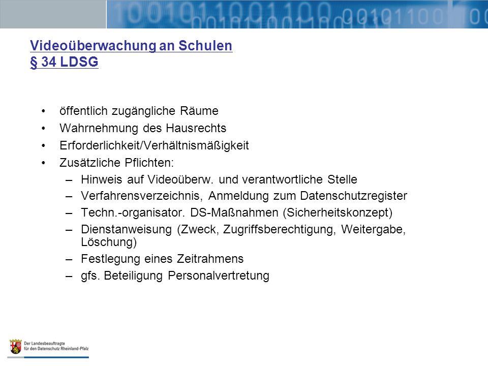 Videoüberwachung an Schulen § 34 LDSG